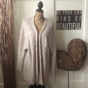 Pink Rose beige buttonless cardigan sweater